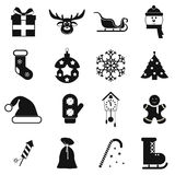 16 christmas black icons set Stock Image