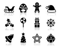 Christmas black icons with shadow set Royalty Free Stock Photography