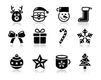 Christmas black icons with shadow set - santa, pre Royalty Free Stock Image