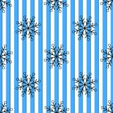 Christmas black snowflake seamless pattern. Black snow on blue white lines background. Winter snow texture design wallpaper Symbol stock illustration