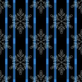 Christmas black snowflake seamless pattern. Snowflakes on blue and black lines background. Winter snow texture wallpaper. Symbol royalty free illustration