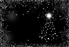 Christmas black and white background with snowflakes frame Royalty Free Stock Image