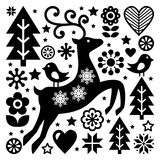 Christmas black and white folk  pattern, Scandinavian folk art, reindeer, birds and flowers decoration or greeting card Stock Image