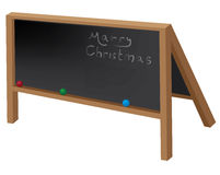 Christmas blackboard with ornament balls. Christmas blackboard with three ornament balls Stock Photography