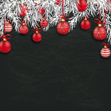 Christmas Blackboard Red Baubles Twigs. Frozen twigs with red baubles on the chalkboard royalty free illustration