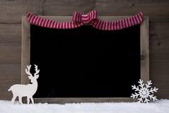 Christmas Blackboard, Red Loop, Reindeer,Copy Space, Snow Stock Photography