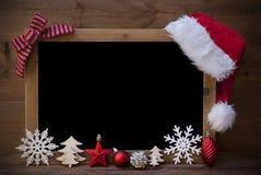 Christmas Blackboard, Santa Hat, Copy Space, Red Loop Stock Images