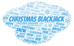 Christmas Blackjack word cloud. Wordcloud made with text only stock illustration