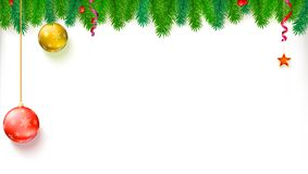 Christmas blank banner with garland of fir branches, red berries, star and balls. Festive atmosphere. Template for New Stock Image