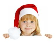Christmas blank board. Redhead girl in Christmas cap holding empty blank board with space for text, isolated on white Stock Image