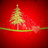 Christmas blank with fir tree and glossy hearts. In red background with copy space Stock Photos