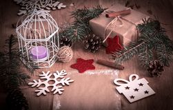 Christmas blank greeting card on vintage background. stock photo