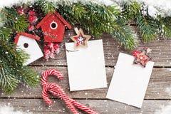Christmas blank photo frames, birdhouse decor Stock Photo