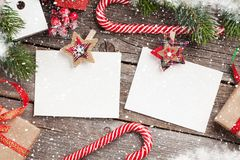 Christmas blank photo frames, decor and fir tree Stock Images