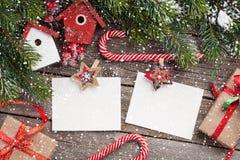 Christmas blank photo frames, decor and fir tree Stock Image