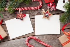 Christmas blank photo frames, decor and fir tree Royalty Free Stock Photo