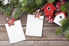 Christmas blank photo frames and fir tree Royalty Free Stock Image