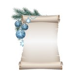 Christmas blank scroll paper on white background Stock Image