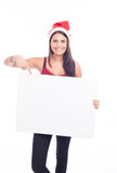 Christmas blank sign woman. Brunette Royalty Free Stock Photo