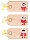 Christmas blank tags with eskimo kids Stock Image