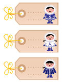 Christmas blank tags with eskimo kids Stock Photos