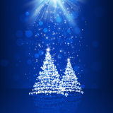 Christmas Bless. Blue christmas trees background for NY and Christmas greeting cards Royalty Free Stock Images