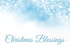 Christmas Blessings text and Snowflake Christmas pattern and blank space on blue. Digital composite of Christmas Blessings text and Snowflake Christmas pattern Stock Image