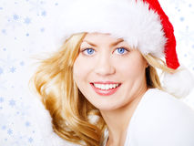 Christmas blond woman over snow Stock Photography