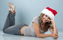 Christmas blond woman Royalty Free Stock Photos