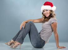 Christmas blond woman Stock Photography