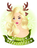 Christmas blonde girl wearing deer horns Stock Photo
