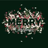 Christmas bloomimg. Botanic  plant; Holly; red berries. Decorati. Ve wreath of flowers. Holiday garland; festive clip art isolated ondark grren background. Merry Royalty Free Stock Photography