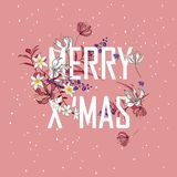 Christmas blooming. Decorative typo of flowers. Holiday garland;. Festive clip art isolated on light pink background. Merry Christmas and Happy New Year Card Stock Images