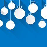 Christmas blue abstract background. Blue winter abstract background with flat paper christmas balls. Vector illustration vector illustration