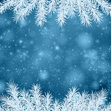 Christmas blue abstract background. Blue winter abstract background. Christmas illustration with snowflakes and sparkles. White fir needles Stock Photography