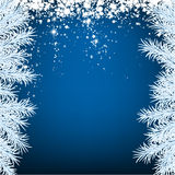 Christmas blue abstract background. Blue winter abstract background. Christmas illustration with snowflakes and sparkles. White fir needles. Vector Stock Photography