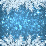 Christmas blue abstract background. Blue winter abstract background. Christmas illustration with snowflakes and sparkles. White fir needles. Vector Royalty Free Stock Photos