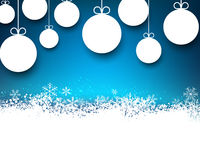 Christmas blue abstract background. Blue winter abstract background with paper christmas balls and sparkles. Vector Stock Photos