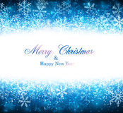 Christmas blue abstract background. Blue winter abstract background. Christmas background with snowflakes. Vector Stock Image