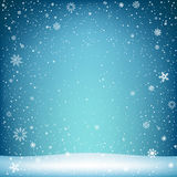 Christmas blue backdrop with snow Stock Image