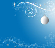Christmas Blue background. Christmas deisgn with a single white bauble Royalty Free Stock Photos