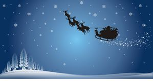 Christmas Blue Background. Detailed illustration of Winter scenery with Santa Claus sleigh flight Stock Images