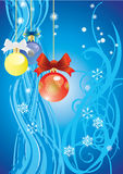 Christmas a blue background Royalty Free Stock Photo