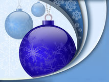 Christmas blue background. Blue white Christmas background with balls and snowflakes Stock Photo