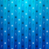 Christmas blue background. Christmas blue pattern with star and gift Stock Photos