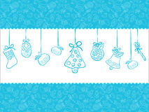 Christmas blue background. Christmas vector background with apples, bells, balls Vector Illustration