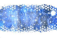 Christmas blue background. With snow flakes Royalty Free Stock Image