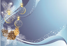 Christmas blue background. Blue christmas background with baubles and pine cones Stock Image
