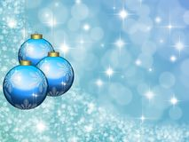 Christmas blue background with balls stock image