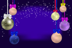 Christmas blue background. With Christmas balls, bows and ribbon Royalty Free Stock Image